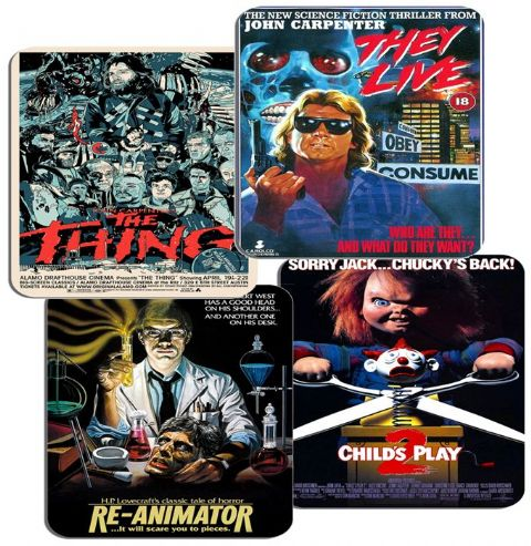 Classic 1980s Horror Movie Poster Coasters Set Of 4. High Quality Cork Film Gift